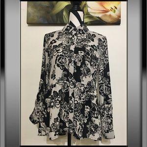 Style&Co Flowers Print Ruffles Button Down Shirt